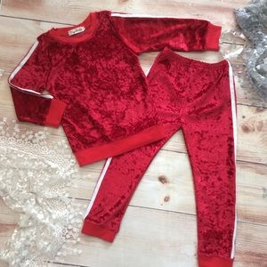 Other - Boutique Girls Red Velvet 2pc Tracksuit
